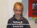 Sydney B - Summer 2011 winner